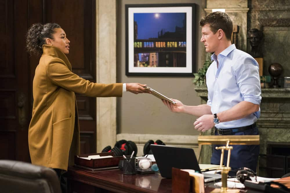 "LAW & ORDER: SPECIAL VICTIMS UNIT -- ""Chasing Demons"" Episode 1914 -- Pictured: (l-r) Kylie Bunbury as Detective Devin Holiday, Philip Winchester as Peter Stone -- (Photo by: Michael Parmelee/NBC)"