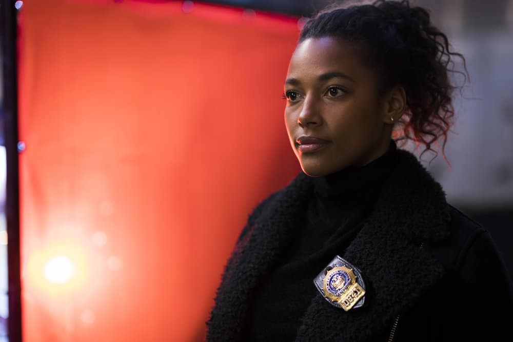 "LAW & ORDER: SPECIAL VICTIMS UNIT -- ""Chasing Demons"" Episode 1914 -- Pictured: Kylie Bunbury as Detective Devin Holiday -- (Photo by: Michael Parmelee/NBC)"