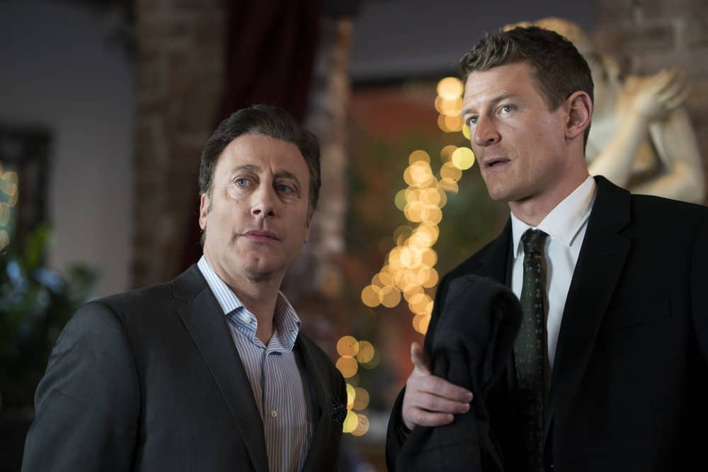 "LAW & ORDER: SPECIAL VICTIMS UNIT -- ""Chasing Demons"" Episode 1914 -- Pictured: (l-r) Anthony Grasso as Lorenzo, Philip Winchester as Peter Stone -- (Photo by: Michael Parmelee/NBC)"