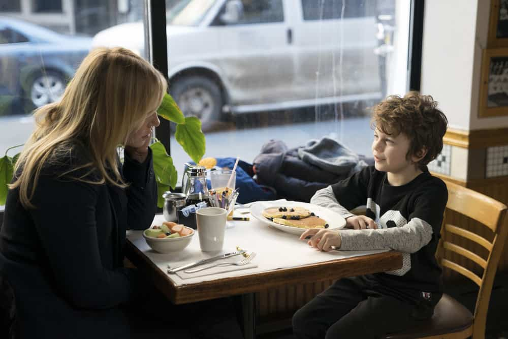 """LAW & ORDER: SPECIAL VICTIMS UNIT -- """"Chasing Demons"""" Episode 1914 -- Pictured: (l-r) Kelli Giddish as Detective Amanda Rollins, Ryan Buggle as Noah Porter-Benson -- (Photo by: Michael Parmelee/NBC)"""