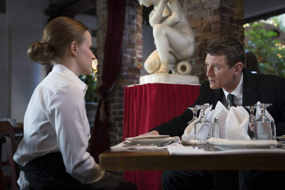 "LAW & ORDER: SPECIAL VICTIMS UNIT -- ""Chasing Demons"" Episode 1914 -- Pictured: (l-r) Molly Jobe as Natalie Roberts, Philip Winchester as Peter Stone -- (Photo by: Michael Parmelee/NBC)"