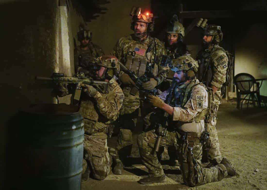 """Call Out""  Jason and the SEAL Team settle into deployment life and get closer to discovering who ambushed Echo Team after Mandy gets a productive lead from an unlikely source on the base, on SEAL TEAM, Wednesday,Feb 28th (9:00-10:00 PM, ET/PT) on the CBS Television Network. Pictured L to Right: Tyler Grey as Trent, David Boreanaz as Jason Hayes, Marsha Thomason as Vanessa Ryan, Justin Melnick as Brock, and Neil Brown Jr. as Ray Perry. Photo: Sonja Flemming/CBS ©2017 CBS Broadcasting, Inc. All Rights Reserved"