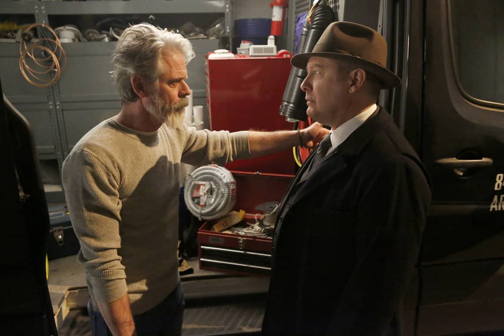 "THE BLACKLIST -- ""Pattie Sue Edwards (#68)"" Episode 515 -- Pictured: (l-r) C. Thomas Howell as Earl Fagen, James Spader as Raymond ""Red"" Reddington -- (Photo by: Will Hart/NBC)"