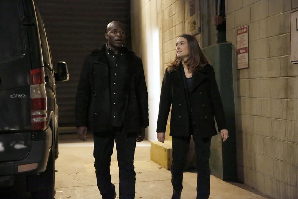 "THE BLACKLIST -- ""Pattie Sue Edwards (#68)"" Episode 515 -- Pictured: (l-r) Hisham Tawfiq as Dembe Zuma, Megan Boone as Elizabeth Keen -- (Photo by: Will Hart/NBC)"