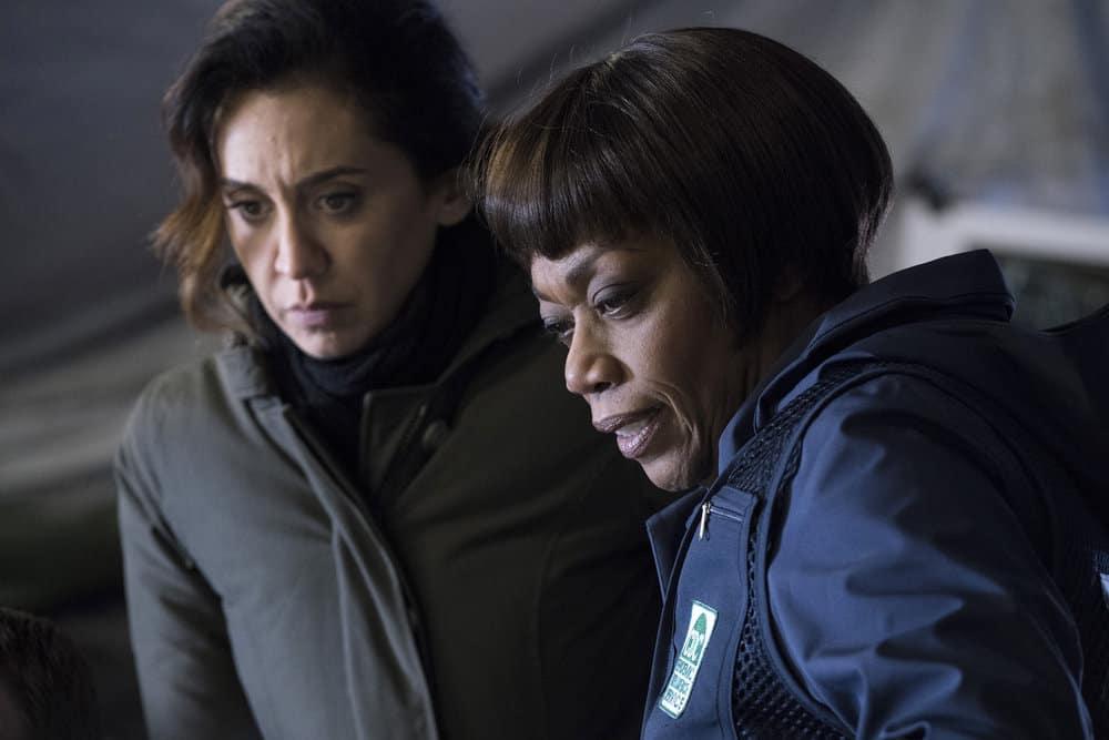 "THE BLACKLIST -- ""Pattie Sue Edwards (#68)"" Episode 515 -- Pictured: (l-r) Mozhan Marnò as Samar Navabi, Regina Taylor as Dr. Hannah Moshay -- (Photo by: Virginia Sherwood/NBC)"