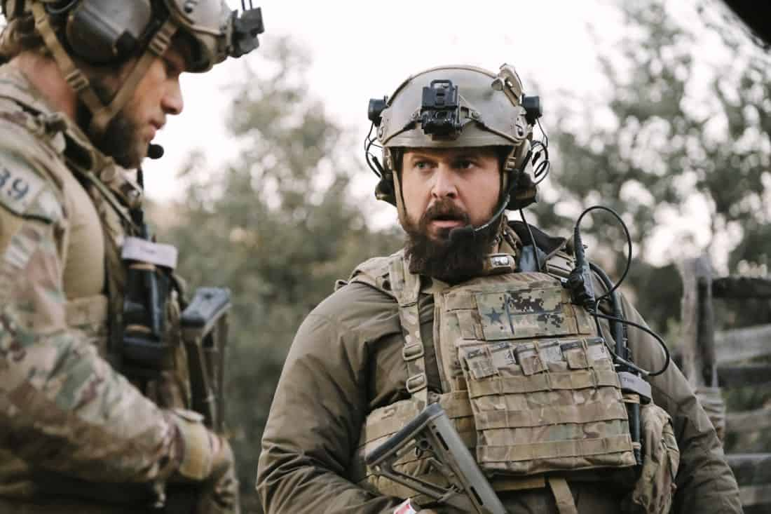 No Mans Land, Jason and the SEAL Team close in on avenging the deaths of Echo Team when they find the money that funded their murder on a nearby poppy farm that was previously used to make heroin. Also, Jason meets an intriguing woman on the base, on SEAL TEAM, Wednesday, March 7 (9:01-10:00 PM, ET/PT) on the CBS Television Network. Pictured: Max Thieriot as Clay Spenser and AJ Buckley as Sonny Quinn. Photo: Eddy Chen/CBS ©2018 CBS Broadcasting, Inc. All Rights Reserved