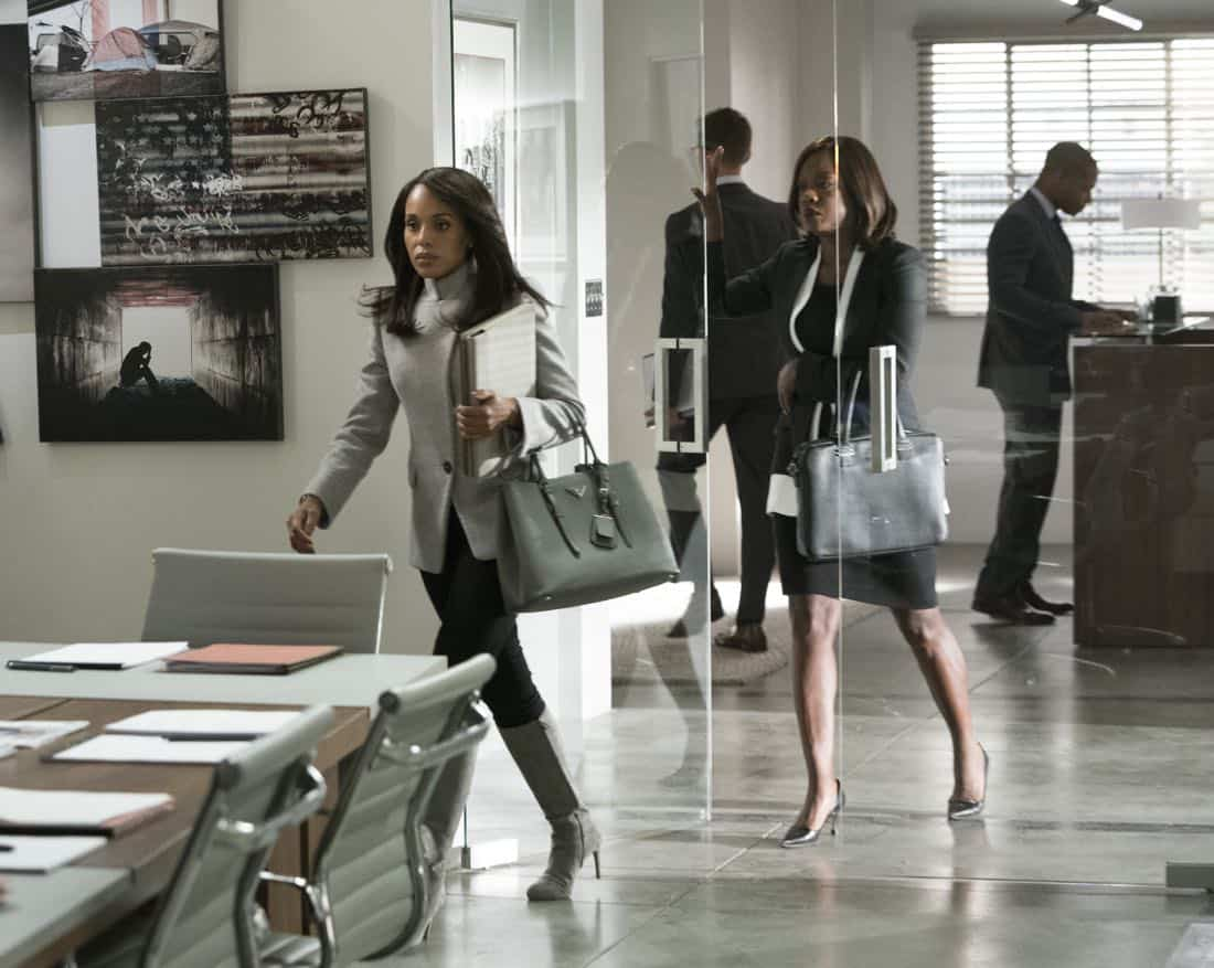 "SCANDAL - ""Allow Me to Reintroduce Myself"" - In the midst of moving on from the White House, Olivia gets an unexpected visitor in criminal defense attorney Annalise Keating, who seeks her help in fast-tracking a judicial reform class action to the United States Supreme Court. However, after Olivia's recent fall from political grace, it's going to be more challenging than ever to get the support they need, on a special, TGIT Crossover Event episode of ""Scandal,"" airing THURSDAY, MARCH 1 (9:00-10:00 p.m. EST), on The ABC Television Network. (ABC/Mitch Haaseth)"