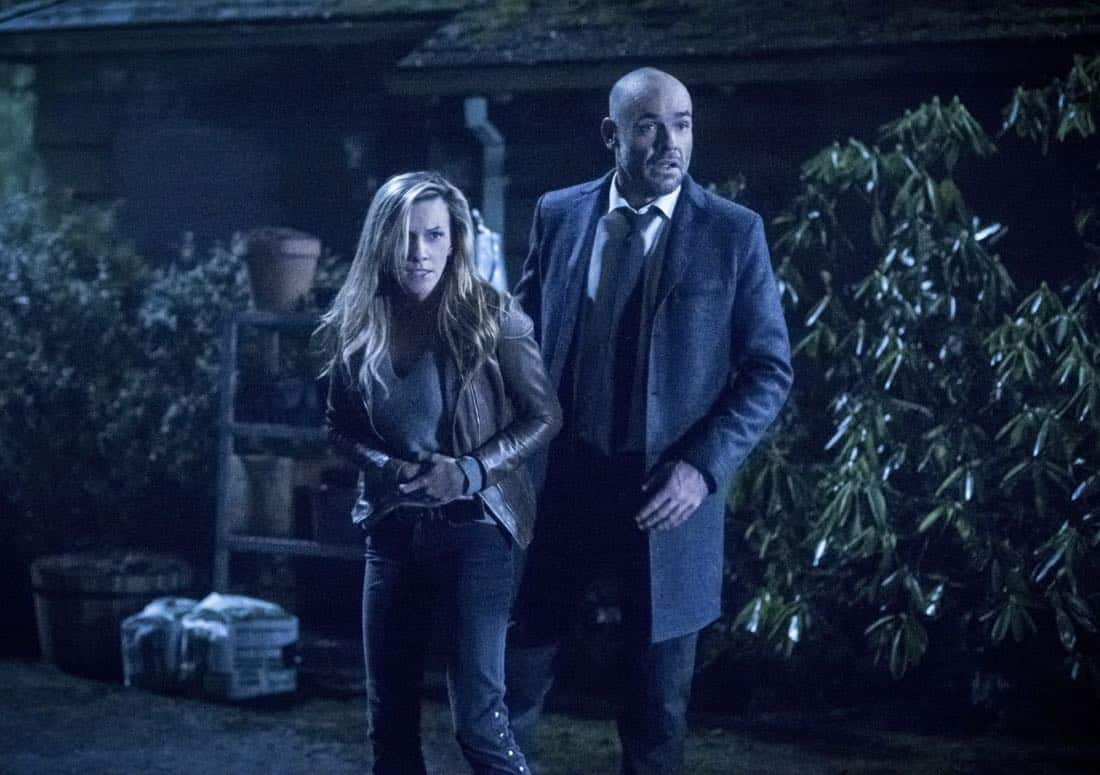 """Arrow -- """"Collision Course"""" -- Image Number: ARR614b_0174.jpg -- Pictured (L-R): Katie Cassidy as Laurel/Black Siren and Paul Blackthorne as Quentin Lance -- Photo: Dean Buscher/The CW -- © 2018 The CW Network, LLC. All rights reserved."""