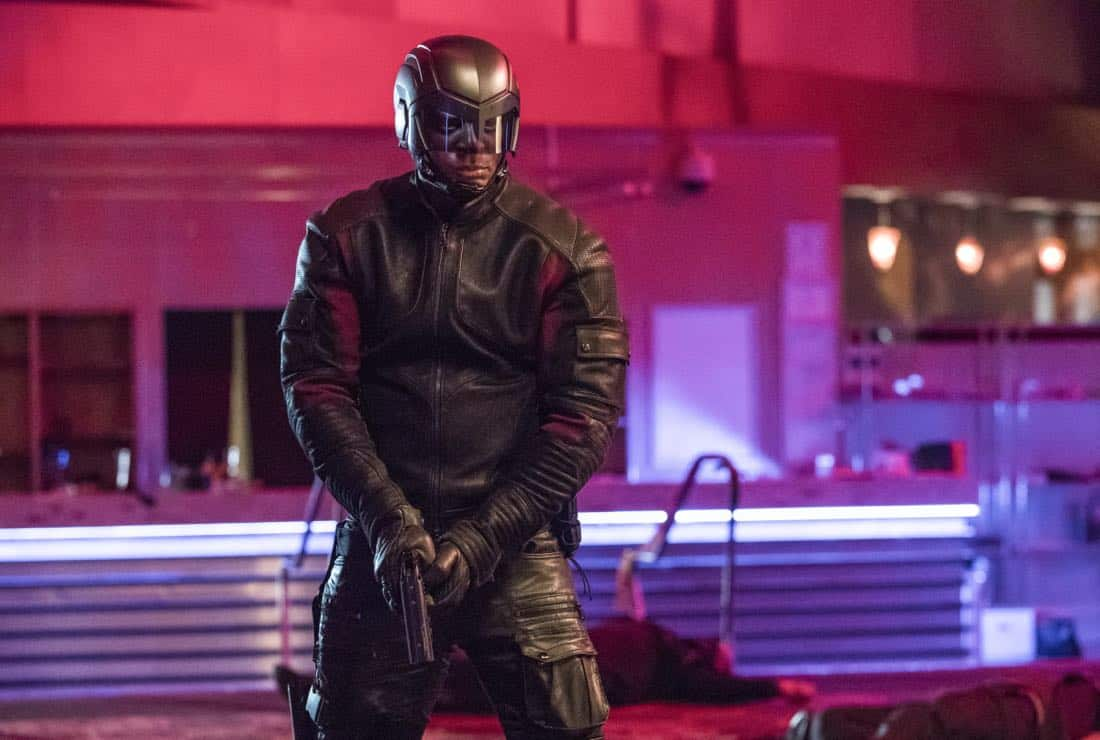 "Arrow -- ""Doppelganger"" -- Image Number: ARR615a_0318.jpg -- Pictured: David Ramsey as John Diggle/Spartan -- Photo: Jack Rowand/The CW -- © 2018 The CW Network, LLC. All rights reserved."