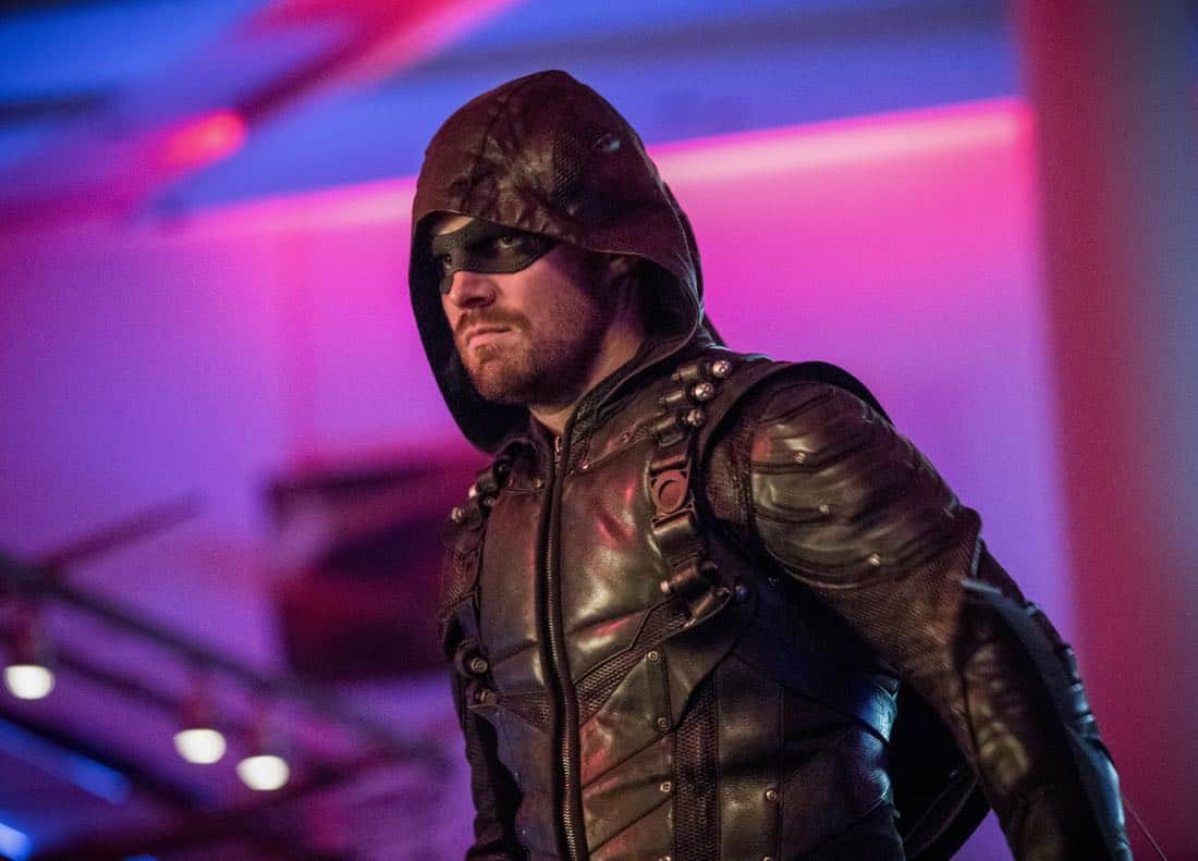 "Arrow -- ""Doppelganger"" -- Image Number: ARR615a_0345.jpg -- Pictured: Stephen Amell as Oliver Queen/Green Arrow -- Photo: Jack Rowand/The CW -- © 2018 The CW Network, LLC. All rights reserved."