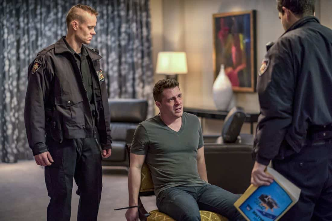 "Arrow -- ""Doppelganger"" -- Image Number: ARR615b_0023.jpg -- Pictured (center): Colton Haynes as Roy Harper -- Photo: Daniel Power/The CW -- © 2018 The CW Network, LLC. All rights reserved."