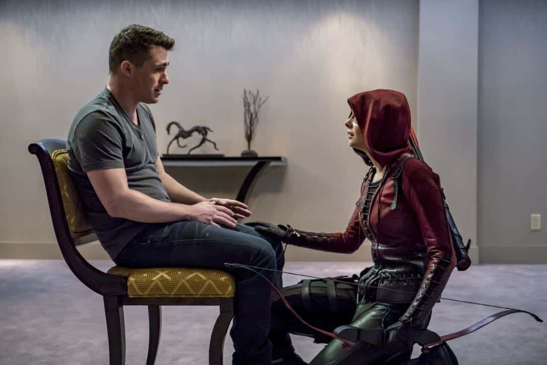 "Arrow -- ""Doppelganger"" -- Image Number: ARR615b_0128.jpg -- Pictured (L-R): Colton Haynes as Roy Harper and Willa Holland as Thea Queen/Speedy -- Photo: Daniel Power/The CW -- © 2018 The CW Network, LLC. All rights reserved."