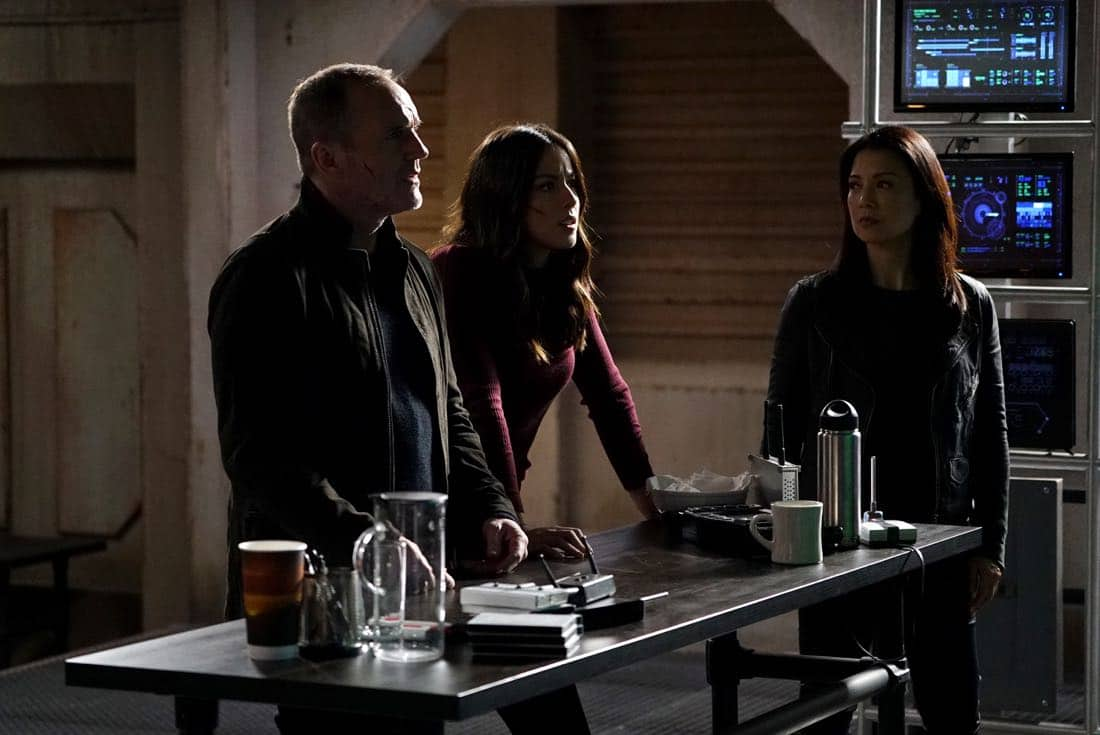 "MARVEL'S AGENTS OF S.H.I.E.L.D. - ""The Real Deal"" - In the milestone 100th episode, Coulson finally reveals the mysterious deal he made with Ghost Rider, which will impact everyone on the S.H.I.E.L.D. team., on ""Marvel's Agents of S.H.I.E.L.D.,"" FRIDAY, MARCH 9 (9:01-10:01 p.m. EST), on The ABC Television Network. (ABC/Eric McCandless) CLARK GREGG, CHLOE BENNET, MING-NA WEN"