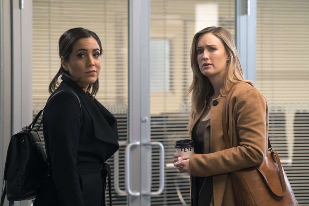 "BLINDSPOT -- ""Everlasting"" Episode 314 -- Pictured: (l-r) Audrey Esparza as Tasha Zapata, Ashley Johnson as Patterson -- (Photo by: Barbara Nitke/NBC)"