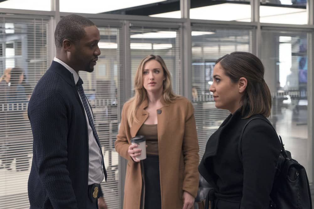 "BLINDSPOT -- ""Everlasting"" Episode 314 -- Pictured: (l-r) Rob Brown as Edgar Reade, Ashley Johnson as Patterson, Audrey Esparza as Tasha Zapata -- (Photo by: Barbara Nitke/NBC)"