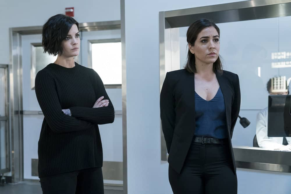 "BLINDSPOT -- ""Everlasting"" Episode 314 -- Pictured: (l-r) Jaimie Alexander as Jane Doe, Audrey Esparza as Tasha Zapata -- (Photo by: David Giesbrecht/NBC)"