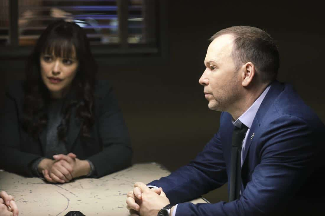 """""""Tale of Two Cities"""" -- Danny and Baez investigate the murder of a man who was living a double life with two separate families, and Anthony tries to resist when Erin asks him to help investigate his old partner, whom she suspects of stealing drug money. Also, Frank deliberates between two candidates for the chief of transit position, on BLUE BLOODS, Friday, March 9 (10:00-11:00 PM, ET/PT) on the CBS Television Network. Pictured: Marisa Ramirez, Donnie Wahlberg. Photo: Craig Blankenhorn/CBS ©2017CBS Broadcasting Inc. All Rights Reserved."""