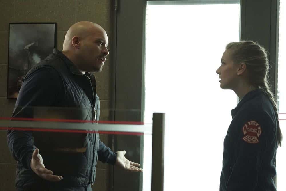"CHICAGO FIRE -- ""Hiding Not Seeking"" Episode 613 -- Pictured: (l-r) Joe Minoso as Joe Cruz, Kara Killmer as Sylvie Brett -- (Photo by: Elizabeth Morris/NBC)"