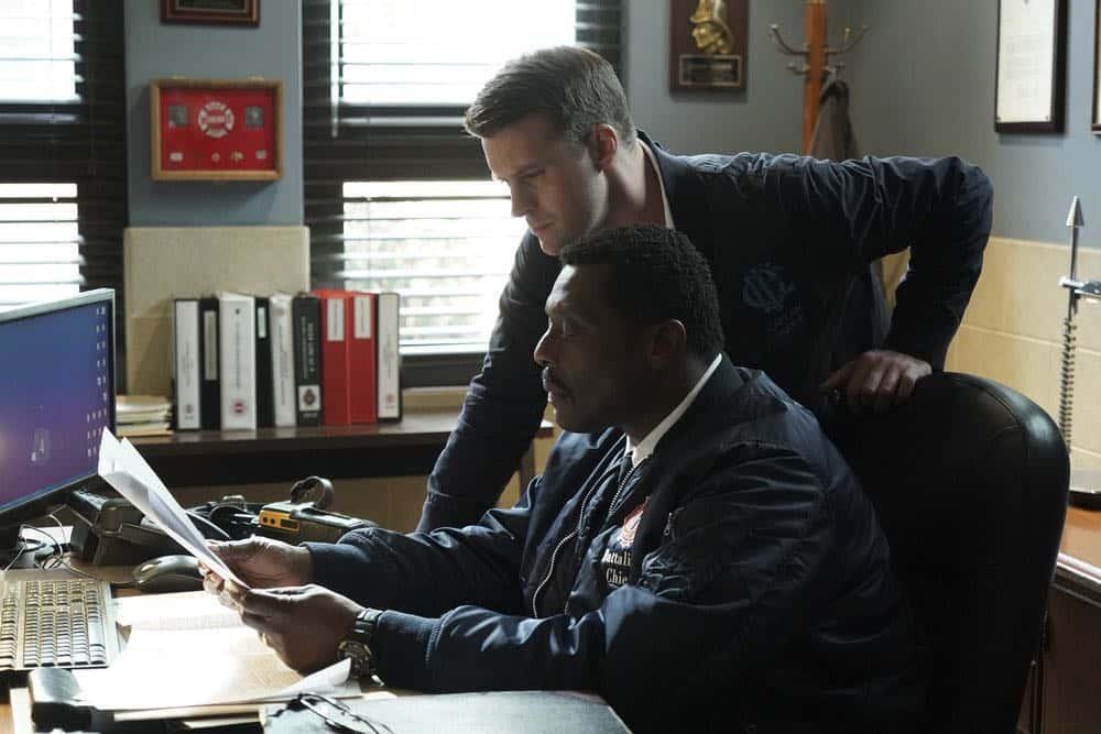 "CHICAGO FIRE -- ""Hiding Not Seeking"" Episode 613 -- Pictured: (l-r) Jesse Spencer as Matthew Casey, Eamonn Walker as Wallace Boden -- (Photo by: Elizabeth Morris/NBC)"