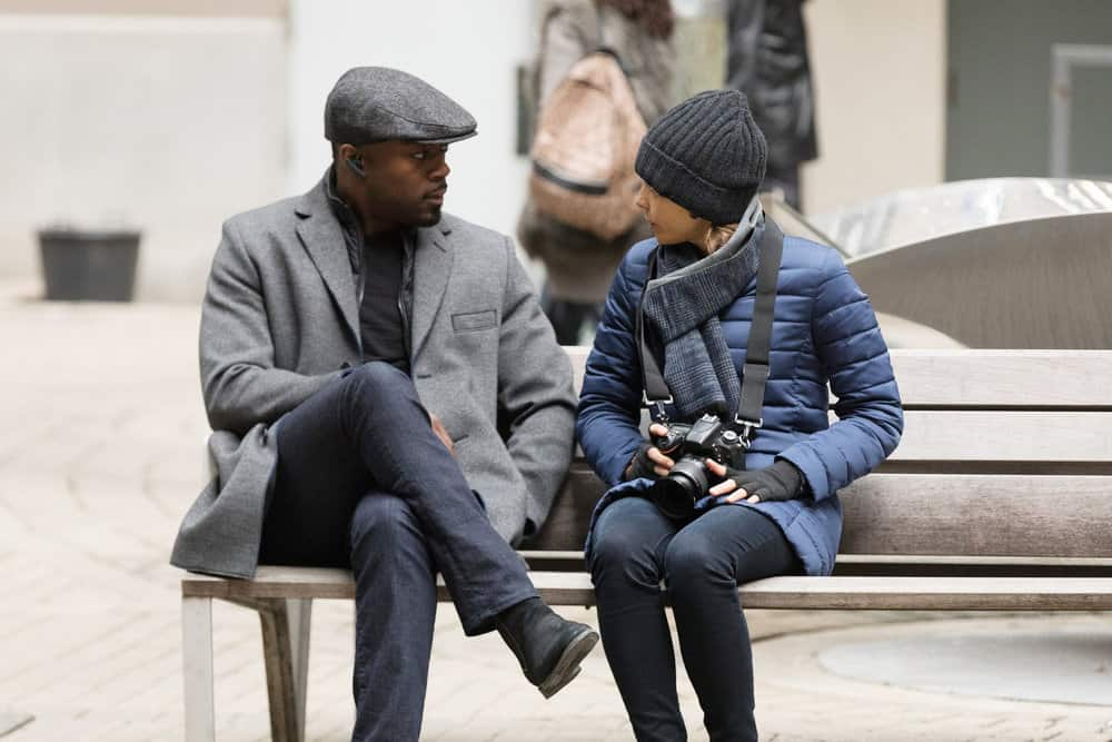 "FALLING WATER -- ""Risk Assessment"" Episode 209 -- Pictured: (l-r) David Ajala as Burton, Lizzie Brochere as Tess -- (Photo by: Iden Ford/USA Network)"