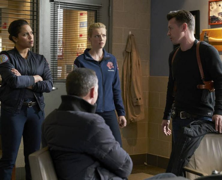 "CHICAGO P.D. -- ""Profiles"" Episode 516 -- Pictured: (l-r) Monica Raymund as Gabriela Dawson, Kara Killmer as Sylvie Brett, Jon Seda as Antonio Dawson -- (Photo by: Parrish Lewis/NBC)"