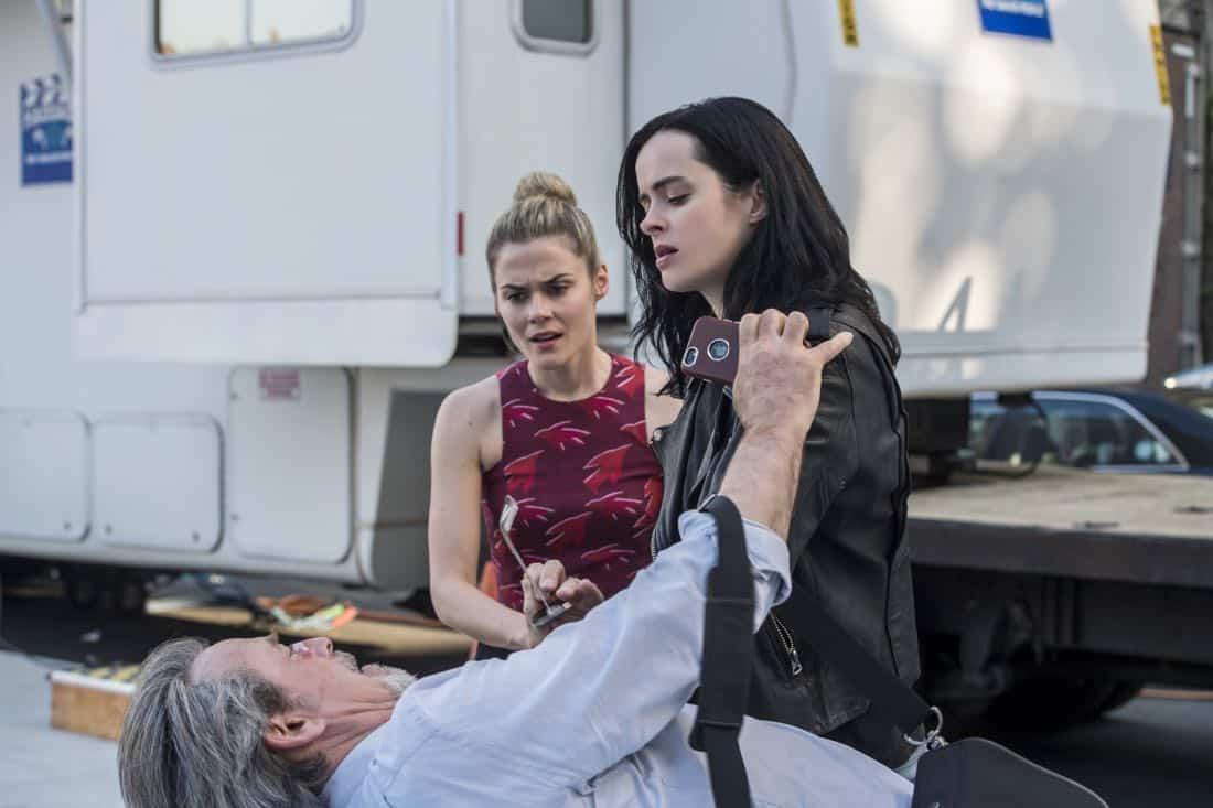 James McCaffrey Krysten Ritter and Rachael Taylor Marvel's Jessica Jones Season 2 | Photo Credit : David Giesbrecht/Netflix