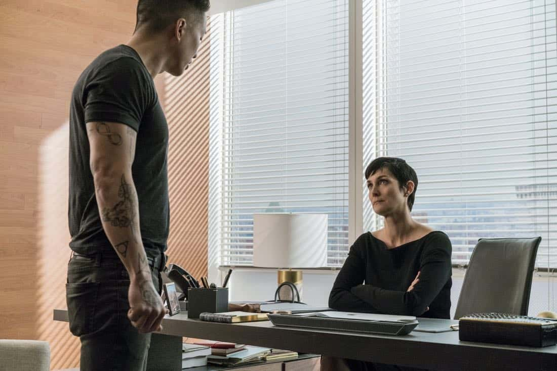 Terry Chen and Carrie-Anne Moss Marvel's Jessica Jones Season 2 | Photo Credit : David Giesbrecht/Netflix