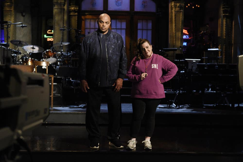 SATURDAY NIGHT LIVE -- Episode 1739 Charles Barkley -- Pictured: (l-r) Host Charles Barkley with Aidy Bryant during a promo in 30 Rockefeller Plaza -- (Photo by: Rosalind O'Connor/NBC)