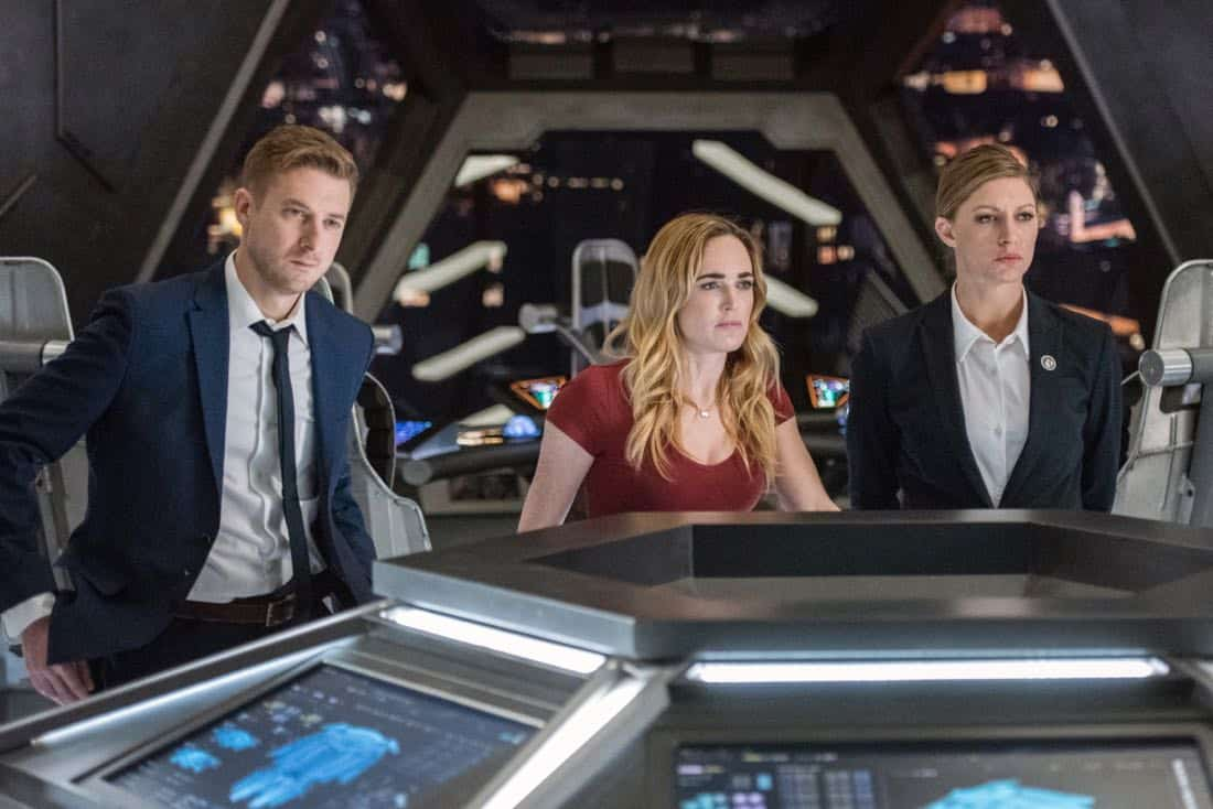 "DC's Legends of Tomorrow -- ""No Country for Old Dads"" -- Image Number: LGN313b_0264b.jpg -- Pictured (L-R): Arthur Darvill as Rip Hunter, Caity Lotz as Sara Lance/White Canary and Jes Macallan as Ava Sharpe -- Photo: Dean Buscher/The CW -- © 2018 The CW Network, LLC. All Rights Reserved."