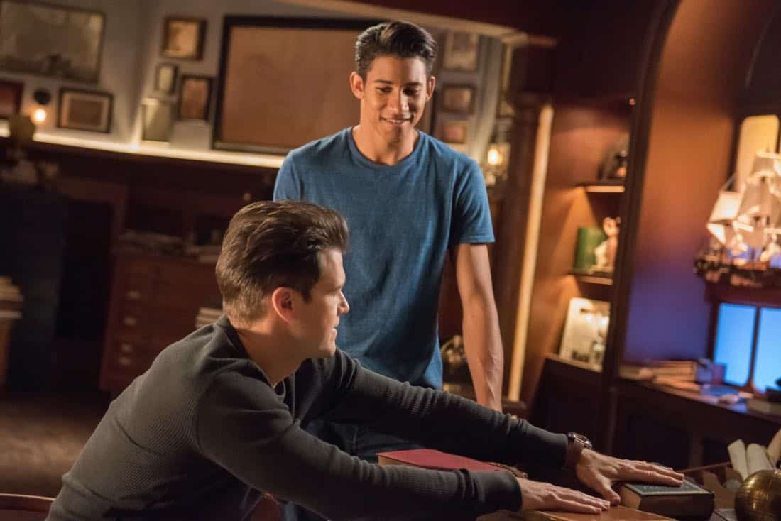 "DC's Legends of Tomorrow -- ""No Country for Old Dads"" -- Image Number: LGN313b_0294b.jpg -- Pictured (L-R): Nick Zano as Nate Heywood/Steel and Keiynan Lonsdale as Wally West -- Photo: Dean Buscher/The CW -- © 2018 The CW Network, LLC. All Rights Reserved."