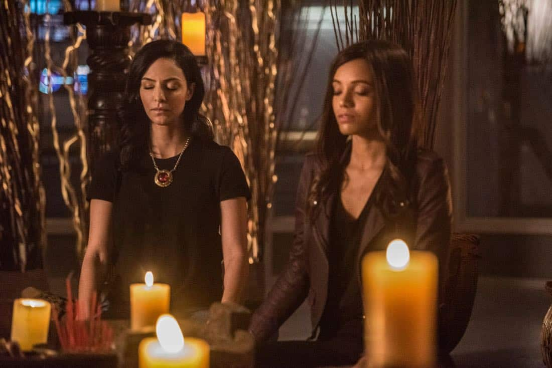 "DC's Legends of Tomorrow -- ""No Country for Old Dads"" -- Image Number: LGN313b_0337b.jpg -- Pictured (L-R): Tala Ashe as Zari and Maisie Richardson- Sellers as Amaya Jiwe/Vixen -- Photo: Dean Buscher/The CW -- © 2018 The CW Network, LLC. All Rights Reserved."