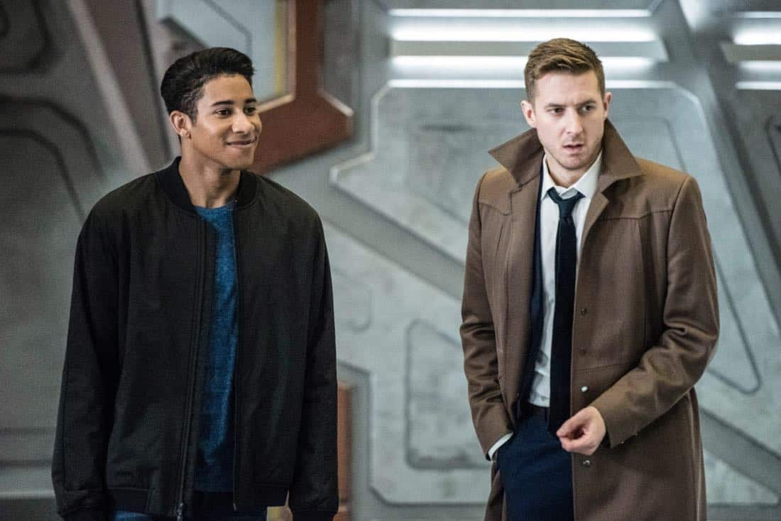 "DC's Legends of Tomorrow -- ""No Country for Old Dads"" -- Image Number: LGN313b_0043b.jpg -- Pictured (L-R): Keiynan Lonsdale as Wally West and Arthur Darvill as Rip Hunter -- Photo: Dean Buscher/The CW -- © 2018 The CW Network, LLC. All Rights Reserved."