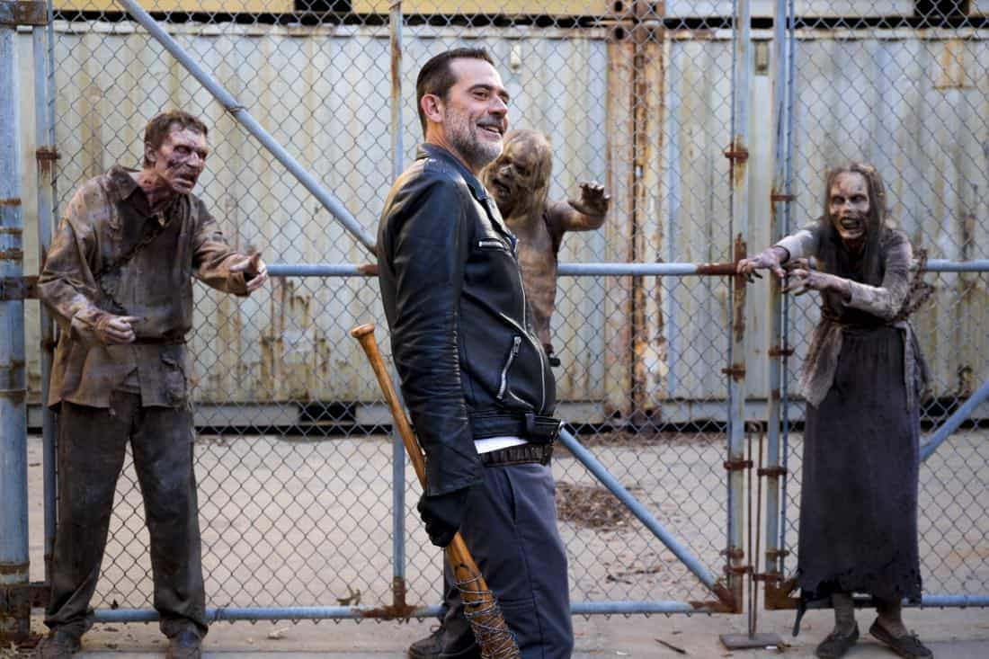 Jeffrey Dean Morgan as Negan; group - The Walking Dead _ Season 8, Episode 11 - Photo Credit: Gene Page/AMC