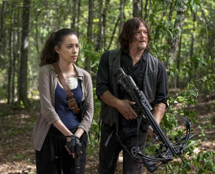 Christian Serratos as Rosita Espinosa, Norman Reedus as Daryl Dixon; group - The Walking Dead _ Season 8, Episode 11 - Photo Credit: Gene Page/AMC