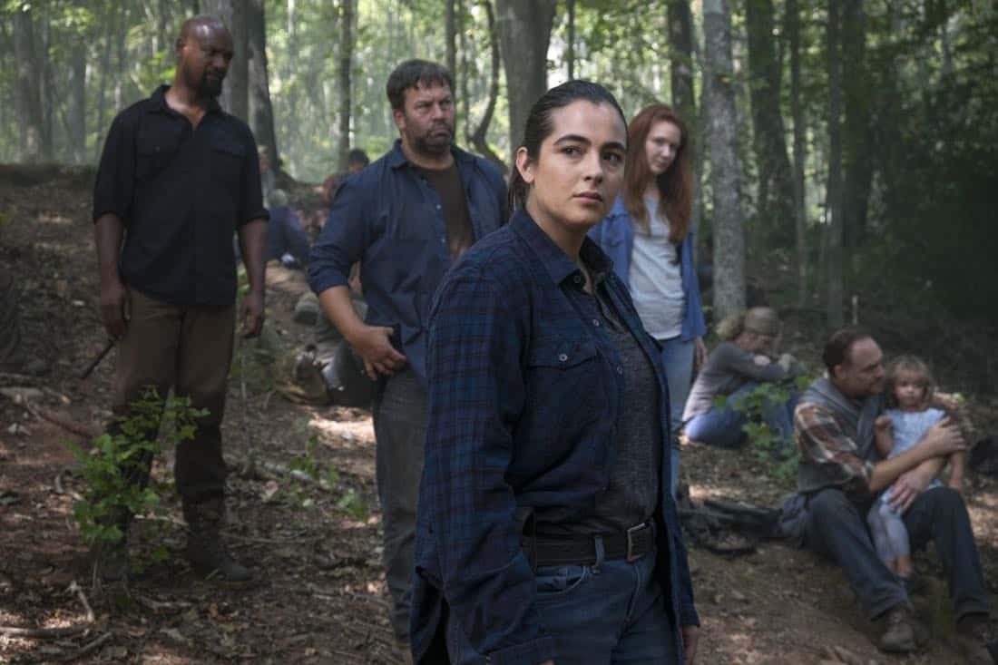 Alanna Masterson as Tara Chambler; group - The Walking Dead _ Season 8, Episode 11 - Photo Credit: Gene Page/AMC