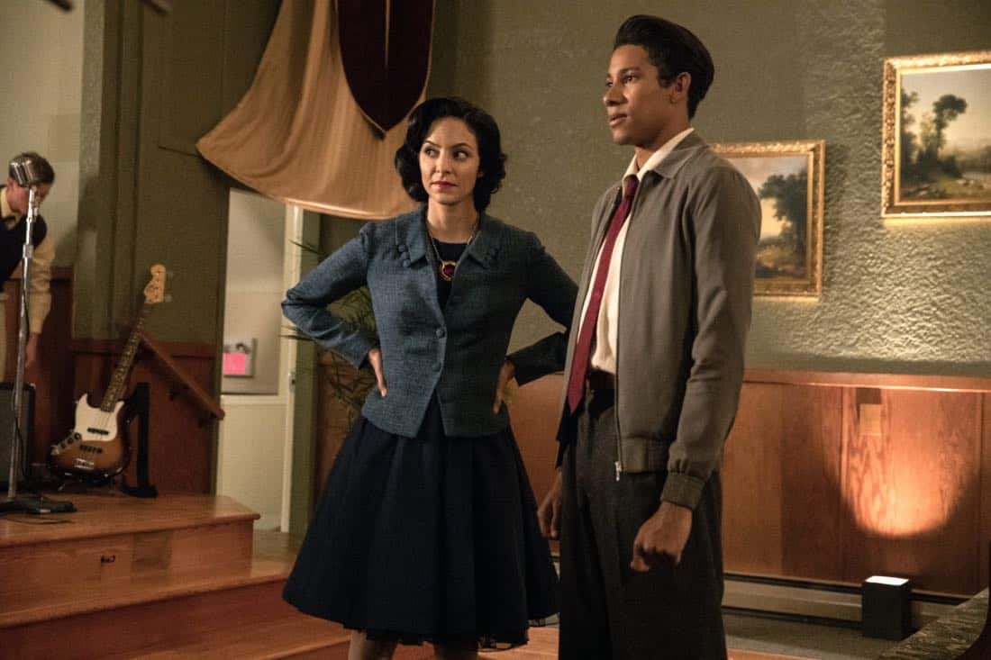 "DC's Legends of Tomorrow -- ""Amazing Grace"" -- Image Number: LGN314b_0124b.jpg -- Pictured (L-R): Tala Ashe as Zari and Keiynan Lonsdale as Wally West -- Photo: Jack Rowand/The CW -- © 2018 The CW Network, LLC. All Rights Reserved."