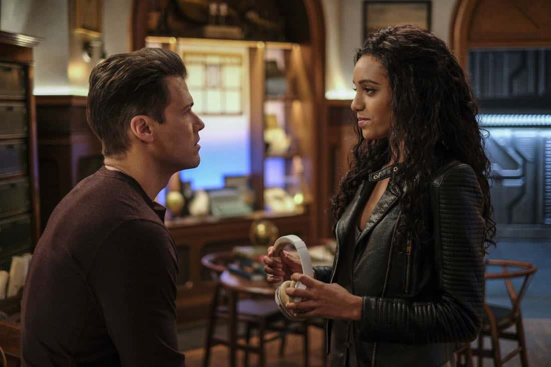 "DC's Legends of Tomorrow -- ""Amazing Grace"" -- Image Number: LGN314a_0051b.jpg -- Pictured (L-R): Nick Zano as Nate Heywood/Steel and Maisie Richardson- Sellers as Amaya Jiwe/Vixe -- Photo: Robert Falconer/The CW -- © 2018 The CW Network, LLC. All Rights Reserved."