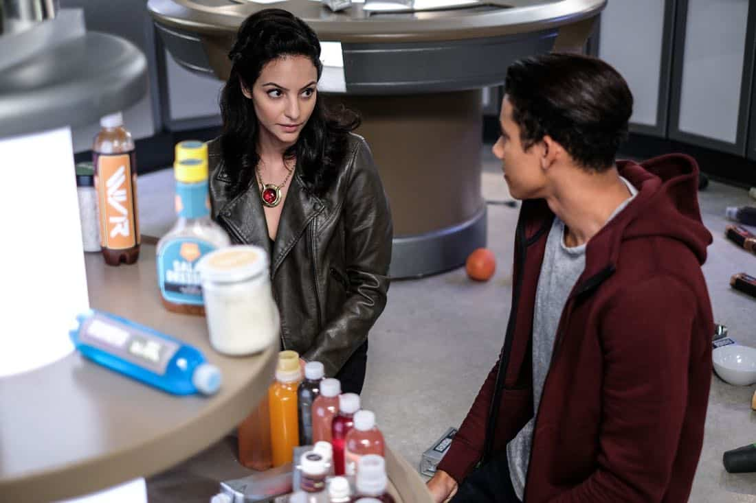 "DC's Legends of Tomorrow -- ""Amazing Grace"" -- Image Number: LGN314a_0117.jpg -- Pictured (L-R): Tala Ashe as Zari and Keiynan Lonsdale as Wally West -- Photo: Robert Falconer/The CW -- © 2018 The CW Network, LLC. All Rights Reserved."