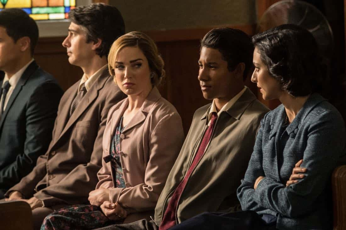 "DC's Legends of Tomorrow -- ""Amazing Grace"" -- Image Number: LGN314b_0013b.jpg -- Pictured (L-R): Brandon Routh as Ray Palmer/Atom, Caity Lotz as Sara Lance/White Canary, Keiynan Lonsdale as Wally West and Tala Ashe as Zari -- Photo: Jack Rowand/The CW -- © 2018 The CW Network, LLC. All Rights Reserved."