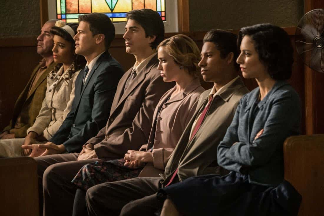 "DC's Legends of Tomorrow -- ""Amazing Grace"" -- Image Number: LGN314b_0013b.jpg -- Pictured (L-R): Dominic Purcell as Mick Rory/Heat Wave, Maisie Richardson- Sellers as Amaya Jiwe/Vixe, Nick Zano as Nate Heywood/Steel Brandon Routh as Ray Palmer/Atom, Caity Lotz as Sara Lance/White Canary, Keiynan Lonsdale as Wally West and Tala Ashe as Zari -- Photo: Jack Rowand/The CW -- © 2018 The CW Network, LLC. All Rights Reserved."