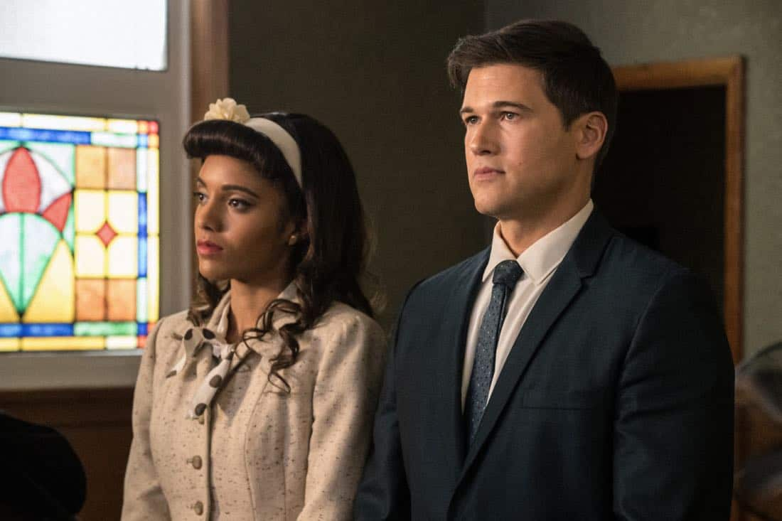 "DC's Legends of Tomorrow -- ""Amazing Grace"" -- Image Number: LGN314b_0059b.jpg -- Pictured (L-R): Maisie Richardson- Sellers as Amaya Jiwe/Vixe and Nick Zano as Nate Heywood/Steel -- Photo: Jack Rowand/The CW -- © 2018 The CW Network, LLC. All Rights Reserved."