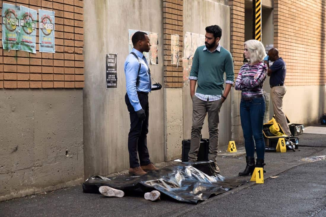 "iZombie -- ""Brainless in Seattle, Part 1"" -- Image Number: ZMB403a_0088.jpg -- Pictured (L-R): Malcolm Goodwin as Clive, Rahul Kohli as Ravi and Rose McIver as Liv -- Photo: Katie Yu/The CW -- © 2018 The CW Network, LLC. All Rights Reserved."