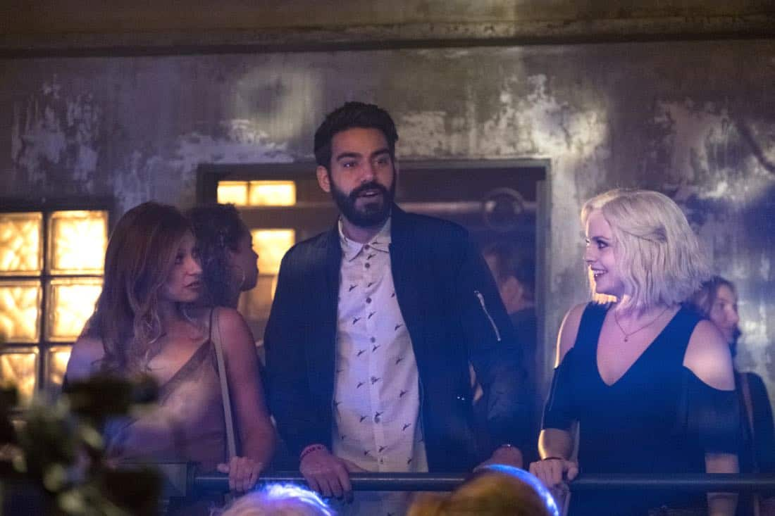 "iZombie -- ""Brainless in Seattle, Part 1"" -- Image Number: ZMB403b_0022.jpg -- Pictured (L-R): Aly Michalka as Peyton, Rahul Kohli as Ravi and Rose McIver as Liv -- Photo: Michael Courtney/The CW -- © 2018 The CW Network, LLC. All Rights Reserved."