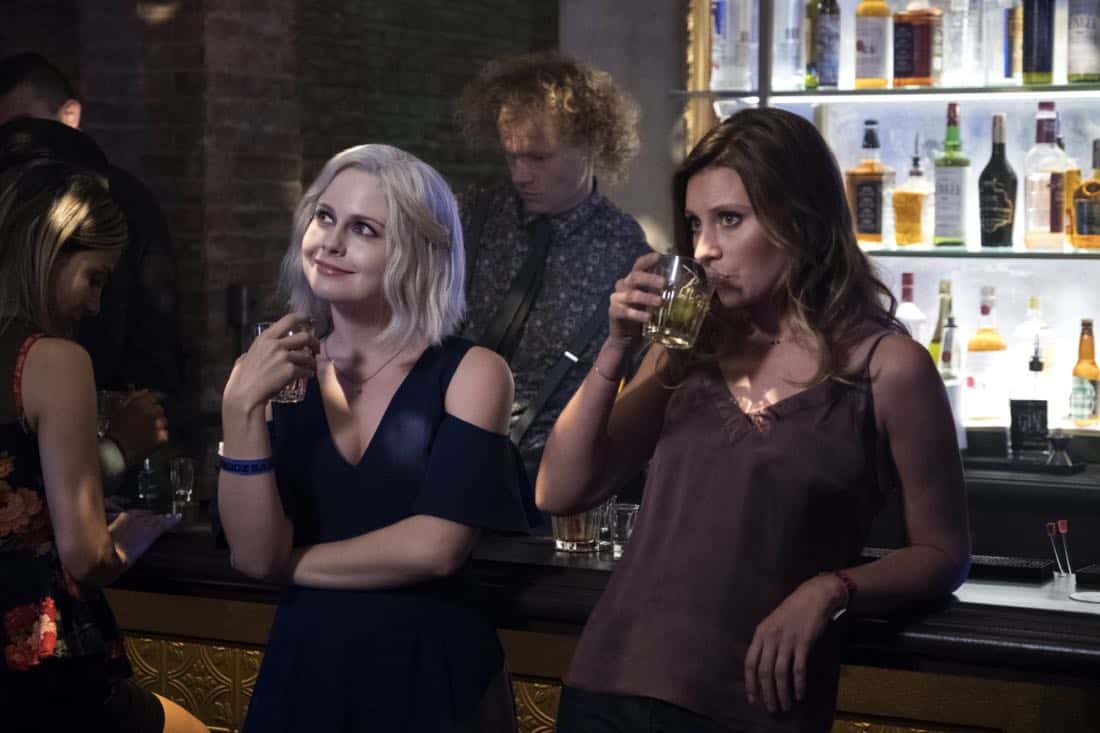 "iZombie -- ""Brainless in Seattle, Part 1"" -- Image Number: ZMB403b_0445.jpg -- Pictured (L-R): Rose McIver as Liv and Aly Michalka as Peyton -- Photo: Michael Courtney/The CW -- © 2018 The CW Network, LLC. All Rights Reserved."