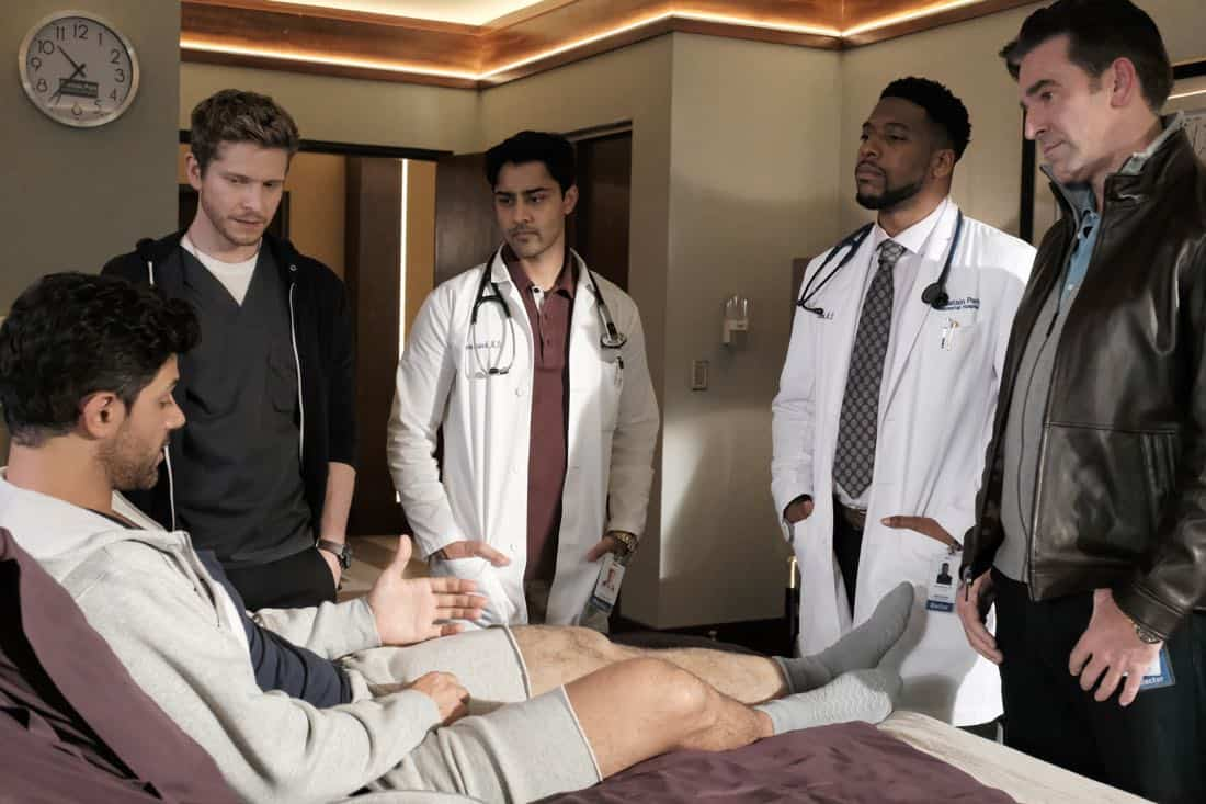 """THE RESIDENT:  L-R: Guest star Damon Dayoub, Matt Czuchry, Manish Dayal, guest star Jocko Sims and guest star Matt Walton in the """"Elopement"""" episode of THE RESIDENT airing Monday, March 12 (9:00-10:00 PM ET/PT) on FOX.  ©2018 Fox Broadcasting Co.  Cr:  Wilford Harewood/FOX"""
