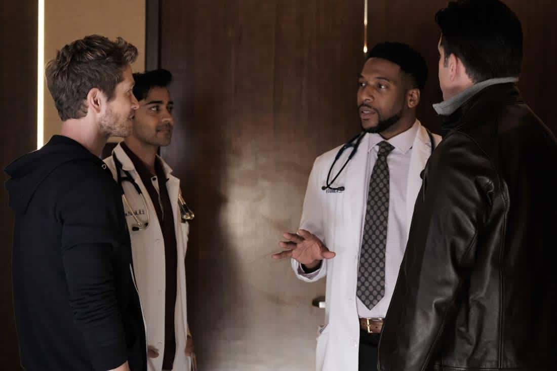 """THE RESIDENT:  L-R:  Matt Czuchry, Manish Dayal, guest star Jacko Sims and guest star Matt Walton in the """"Elopement"""" episode of THE RESIDENT airing Monday, March 12 (9:00-10:00 PM ET/PT) on FOX.  ©2018 Fox Broadcasting Co.  Cr:  Wilford Harewood/FOX"""