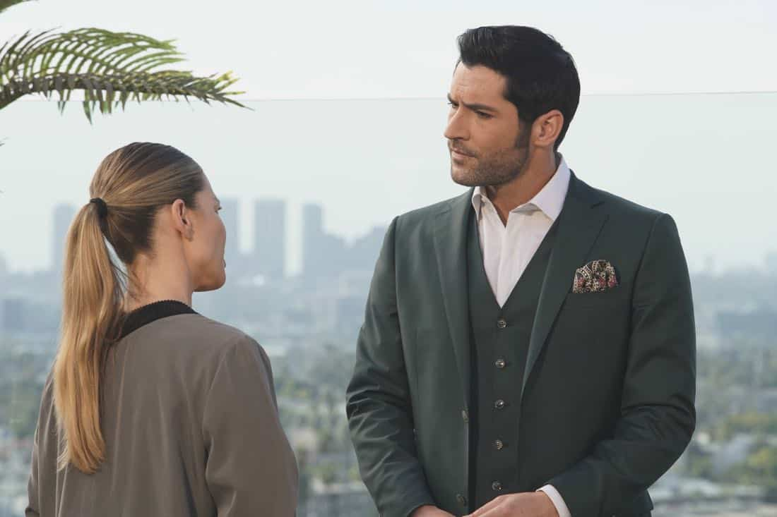 "LUCIFER: L-R: Lauren German and Tom Ellis in the ""Let Pinhead Sing"" episode of LUCIFER airing Monday, March 12 (8:00-9:00 PM ET/PT) on FOX. CR: Erik Voake/FOX"