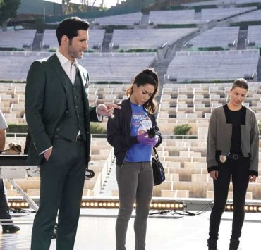 "LUCIFER: L-R: Tom Ellis, Aimee Garcia and Lauren German in the ""Let Pinhead Sing"" episode of LUCIFER airing Monday, March 12 (8:00-9:00 PM ET/PT) on FOX. CR: Erik Voake/FOX"