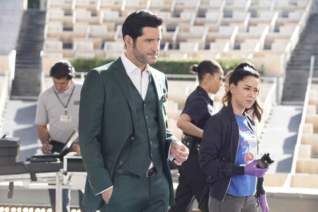 "LUCIFER: L-R: Tom Ellis and Aimee Garcia in the ""Let Pinhead Sing"" episode of LUCIFER airing Monday, March 12 (8:00-9:00 PM ET/PT) on FOX. CR: Erik Voake/FOX"