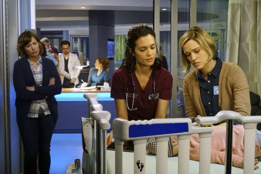 "CHICAGO MED -- ""Folie À Deux"" Episode 311 -- Pictured: (l-r) Christy L. Bonstell as Wendy, Torrey DeVitto as Natalie Manning, Emily Vere Nicoll as Lauren Campos -- (Photo by: Elizabeth Sisson/NBC)"